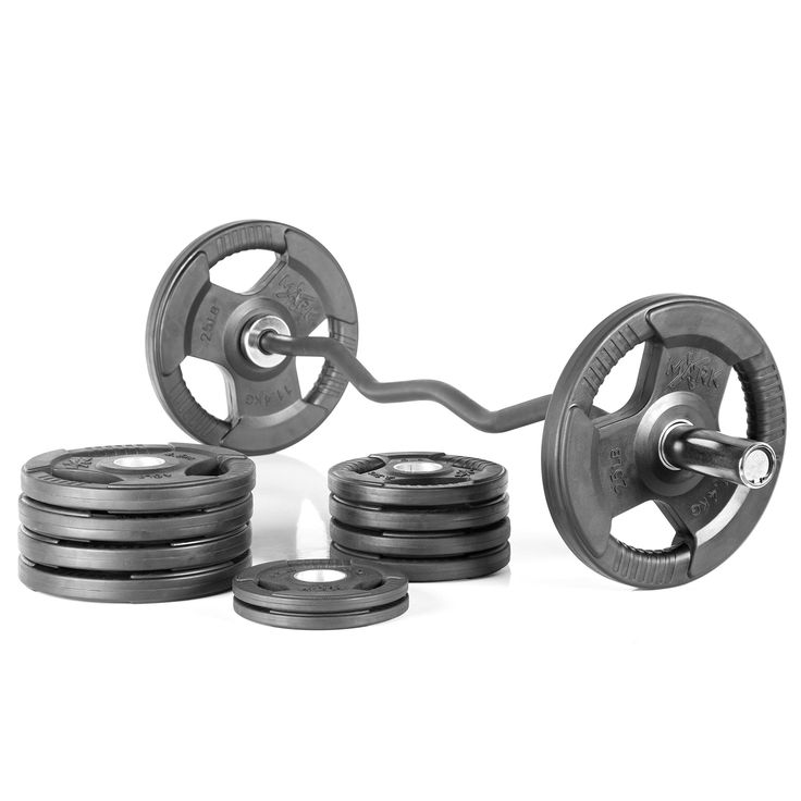 XMark Fitness Olympic EZ Curl Bar With Durable Nylon Bushings And 115 lb. Olympic Weight Set Package. This super package includes a XMark 28mm Olympic EZ curl bar with durable nylon bushings and a 115 lb. set of Olympic plate weights - (2) 25 lb. (4) 10 lb. (4) 5 lb. (2) 2.5 lb. (NOTE: SPRING COLLARS/CLAMPS NOT INCLUDED). With a 400 lb. weight capacity, this XMark Olympic EZ curl bar has chrome sleeves, 28mm grip with medium knurling and longer lasting nylon bushings. The XMark Fitness...