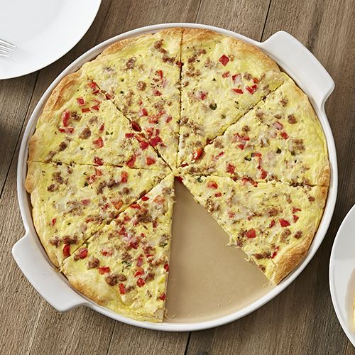 NEW White Large Round Stone with Handles - Sausage & Pepper Brunch Pizza  - The Pampered Chef®