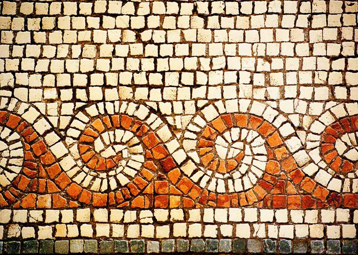 Israel Travel Photography - Cream Brown Tan Byzantine Mosaic Fine Art Photograph…