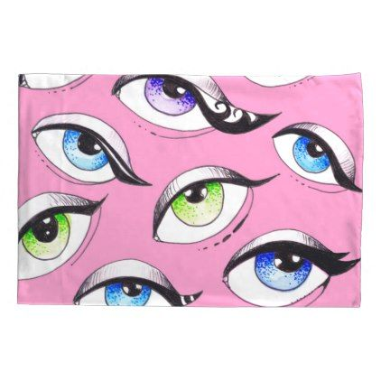 #Bunch Of Eyes Pink Pillow Case - #Pillowcases #Pillowcase #Home #Bed #Bedding #Living