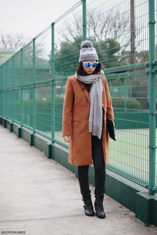OOTD || Brown Coat on Gray shades - xoxo HiLAMEE #choies #sunglasses #shein #browncoat #bigscarf #gray #blackjeans #casual #beanie #streetstyle #Japanesefashion #blogger #ootd #outfit #xoxoHilamee #MizuhoK #ストリートスナップ #コーデ #ファッションブロガー #コーディネート #ファッション #ブラウンコート #グレーマフラー #ブラックジーンズ #クラッチ #カジュアル #大人カジュアル #ポンポンビーニー #ニット帽 #サングラス