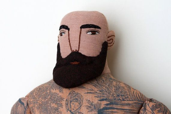 Tattooed Man Bald with beard Circus Doll toile by MimiKirchner