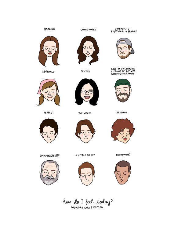 Gilmore Girls Mood grafiek afdrukken  van roaringsoftly op Etsy