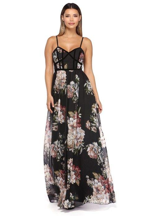 Elsa Black Floral Chiffon And Velvet Dress   WindsorCloud