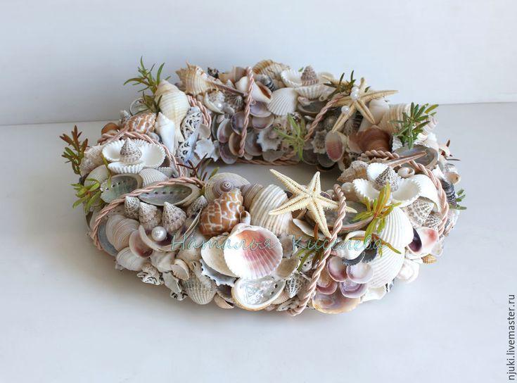 Купить Венок в морском стиле из ракушек - бежевый, венок в морском стиле, венок из ракушек