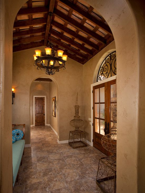 Wonderful Tuscan Style Flooring for Classic Decor: Mediterranean Hall With  Wood Bench And Wood Double