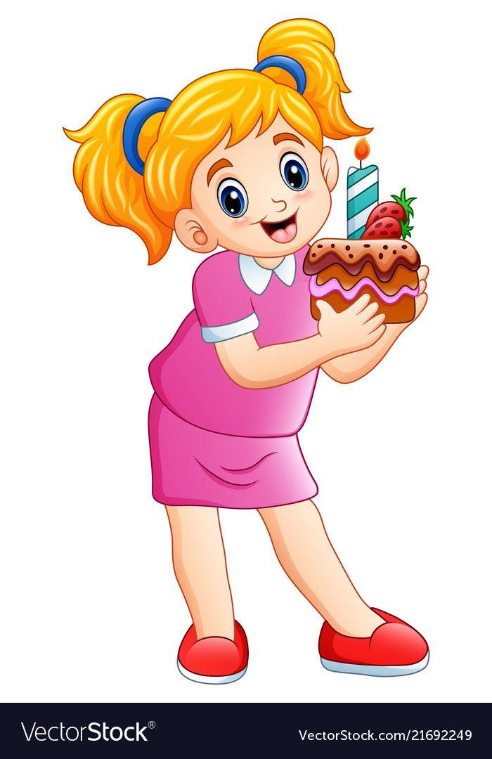 Illustration Of Smiling Little Girl Holding Birthday Cake Isolated