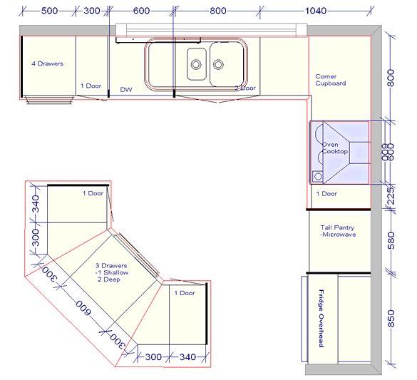 marvelous Kitchen Design Plans With Island #9: kitchen floor plans | The Challenger 3 - standard kitchen fitout floorplan