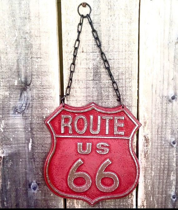Red Route 66 Sign - Automotive Art - Hot Rod Decor - Road Signs - Red Wall Art - Garage Decor - Man Cave Wall Decor - 50's Decor - Red Decor