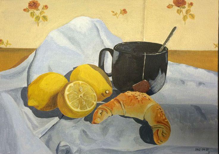 breakfast acrylic paint on canvas