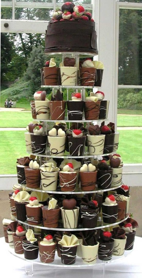 Chocolate cups (White,Milk, & Dark) filed with fillings of your choice and toppings of chocolates and berries