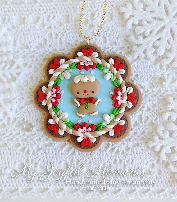 Handcrafted Polymer Clay Christmas Gingerbread Man Ornament