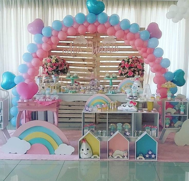 """Renata on Instagram: """"#Repost @adorofestasdf ・・・ Que fofura essa decoração de festa chuva de amor por @adorofestasdf!!!  #cloudsparty #festachuvadebencaos…"""""""