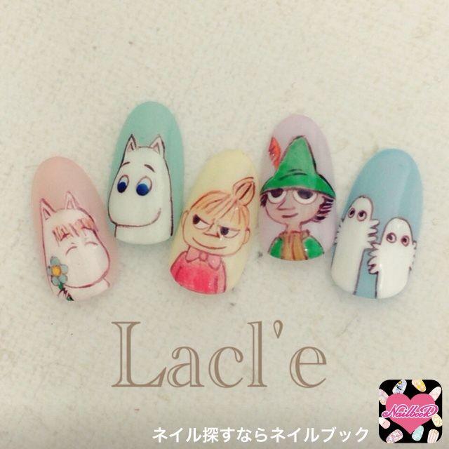 ネイル 画像 Lacl'e 博多 1499710 カラフル キャラクター オールシーズン 春 ソフトジェル ハンド #moomin # nails #Japanesenails