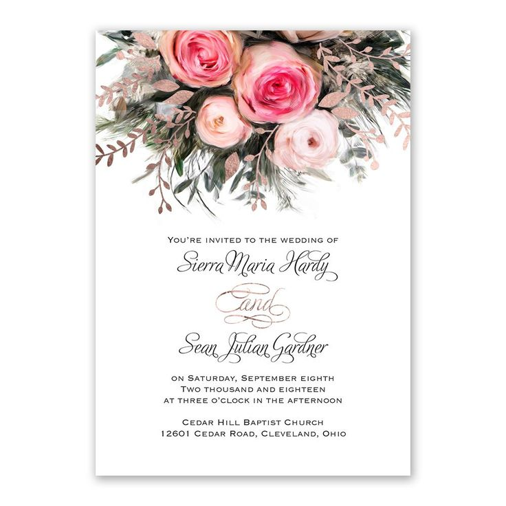 17 best images about rose gold wedding on pinterest for Wedding invitations with real flowers