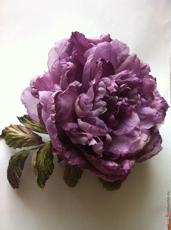 "Брошь-пион ""Лиловое чудо"" - брошь цветок,цветок из ткани,цветок из шелка"