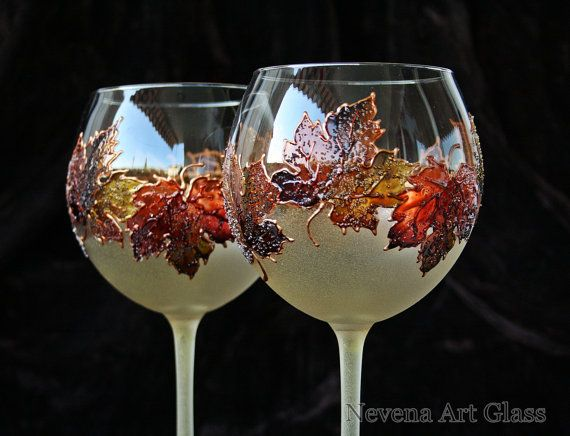 Wine Glasses, Hand Painted Glasses, Autumn Harvest Decor, Wedding Glasses, Candle Holders, Set of 2
