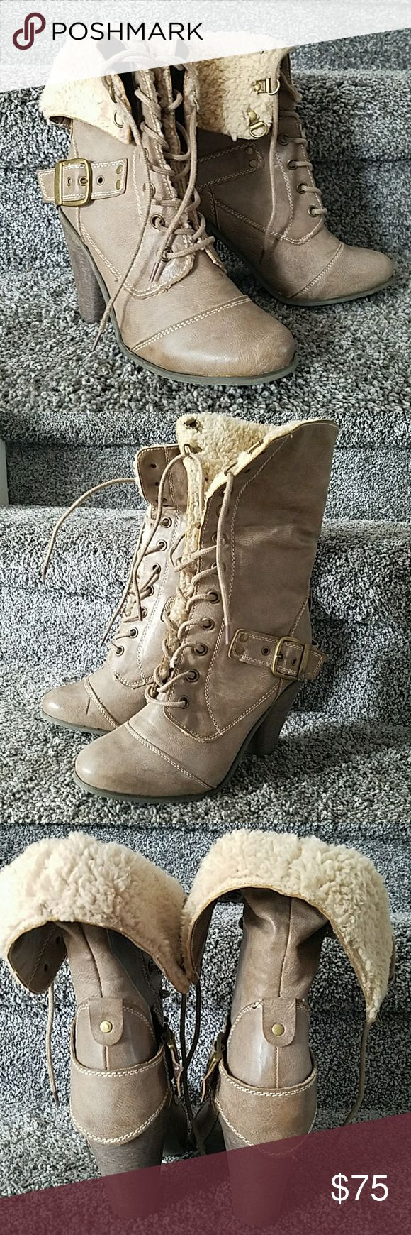 Nine West Winter Heal Boots Tan with Faux fur inner ankle. Size 6M. Worn one season. Stored since. Good shape Nine West Shoes Heeled Boots