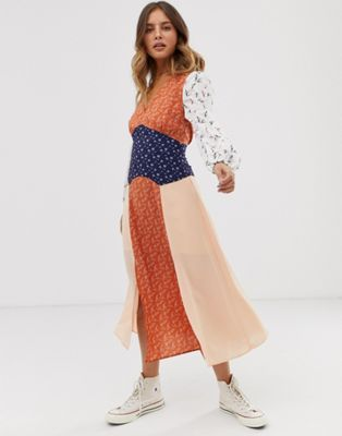ff9b044421 Glamorous midaxi dress with front splits in mix and match print | ASOS