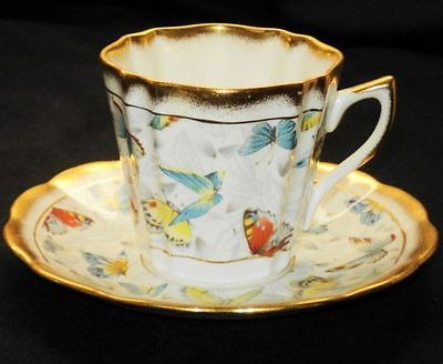 ROSINA BUTTERFLY BLUE YELLOW ORANGE ENGLAND GOLD TEA CUP AND SAUCER