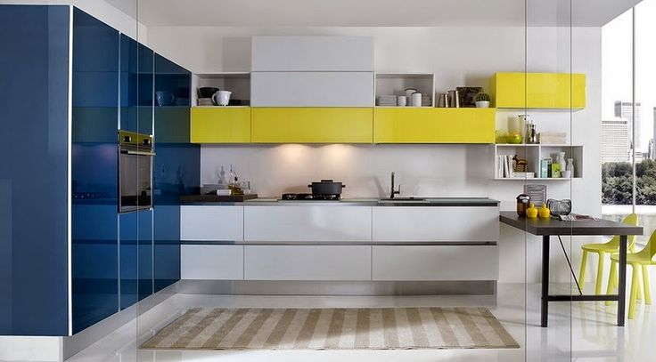 White , blue and yellow kitchen