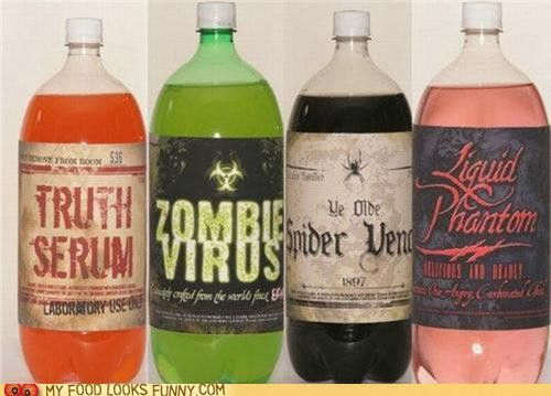 Must tell my Mother In Law to be about this for her halloween party!  Great idea for labeling soda bottles.