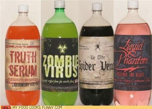 For Halloween party: Bottle Labels, Halloween Drinks, Halloween Parties Ideas, Sodas Labels, Cute Ideas, Halloween Labels, Sodas Bottle, Halloween Sodas, Drinks Labels