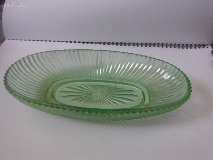 Green Glass Depression year's Sandwich tray by jones101 - $18.00