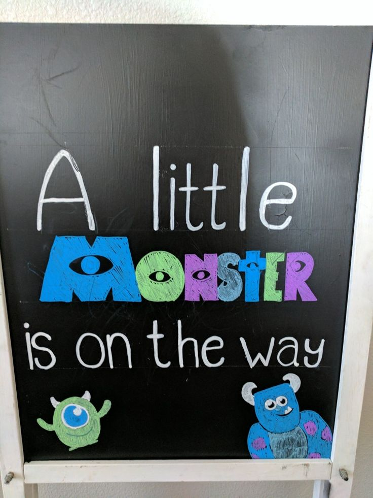 Chalkboard sign, monsters Inc, monster on the way,baby shower sign