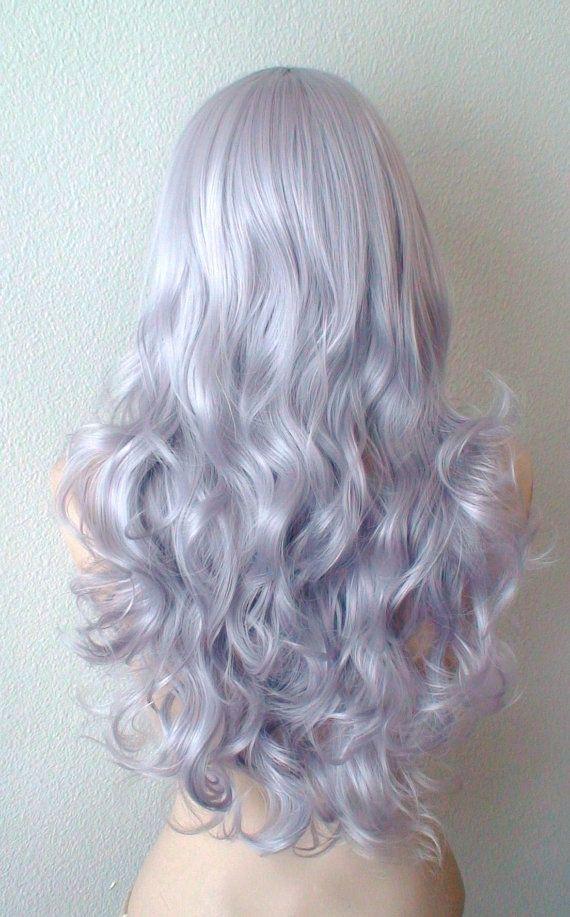 Silver wig. Lavender Silver color Long volume curly door kekeshop