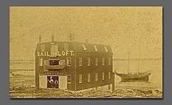 Old Photo of a boat building business in Pubnico Nova Scotia