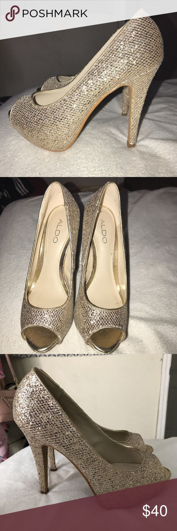 Sparkly heels from Aldo. Gold/silver sparkly heels from Aldo. Worn once on prom night Aldo Shoes Heels
