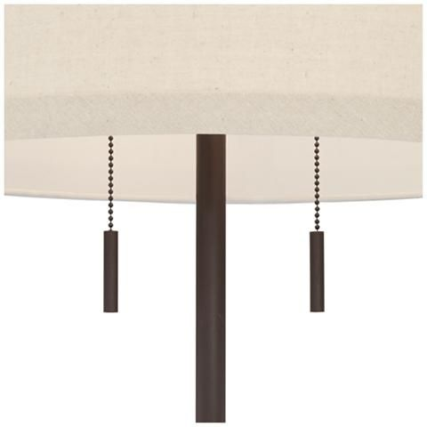 62 hight Nayla Bronze Double Pull Chain Floor Lamp Off-White Shade - #32X78 | Lamps Plus