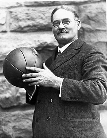 James Naismith - Basketball  P.E. instructor James Naismith from Almonte, Canada got the idea to dribble a soccer ball down a court. The trick was to toss the ball into a peach basket. This was back in 1891 when he coached in Massachusetts. He would later write a rulebook for basketball. That's a Canadian slam-dunk!