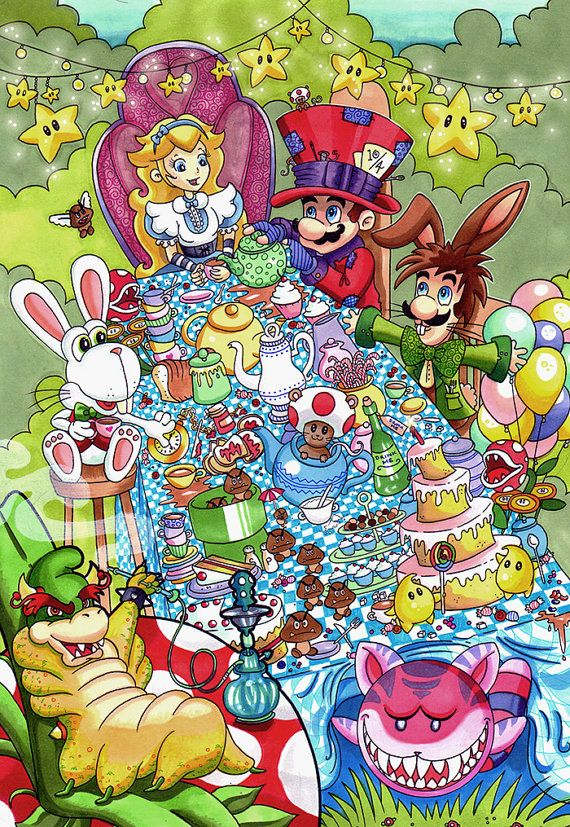 Mario in Wonderland  Super Mario Fan Art by ArtOfAnastasiaCatris, £5.00