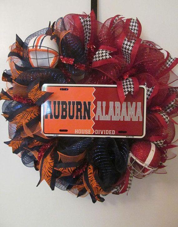 Auburn Alabama House Divided Deco Mesh Wreath by Doris2618, $55.00