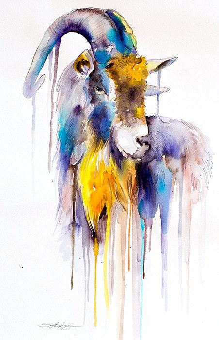 Original Watercolour Painting- Goat  animal, illustration, animal watercolor, Ovis aries, Capra