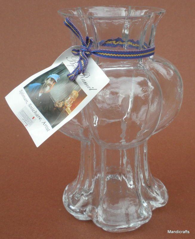 Vase Art Glass Sea Glasbruk Kosta Orrefors Sweden Bjorn Ramel Tag Scandinavian