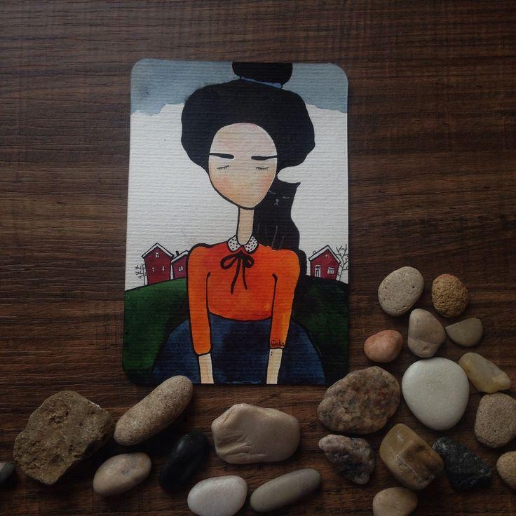 #облачно #happiness #card #otkritka #happy #postcrossing #girl #red #blue #black #postcard #postal #watercolor #color #sketch #art  #подарки #акварельки #акварель #watercolor #кот #кошка #котик #cat