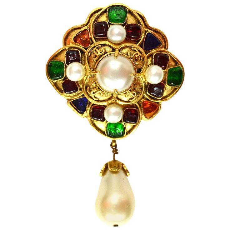 chanel pin. chanel vintage \u002794 multi-color gripoix \u0026 pearl drop brooch pin