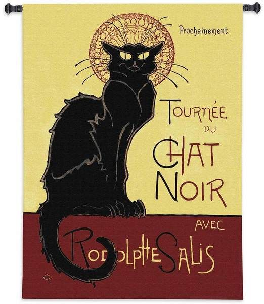Tournee Chat Noir | 38 x 53 | Woven Tapestry - Cat Gifts for People