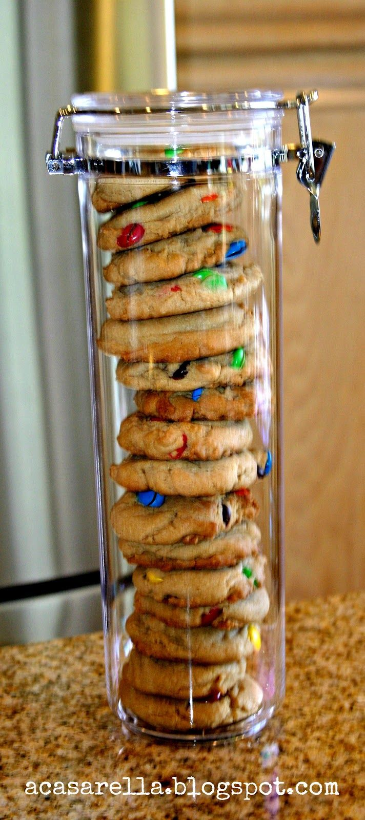 cookies stacked in a spaghetti canister. add a fun tag and bow-makes a great gift!