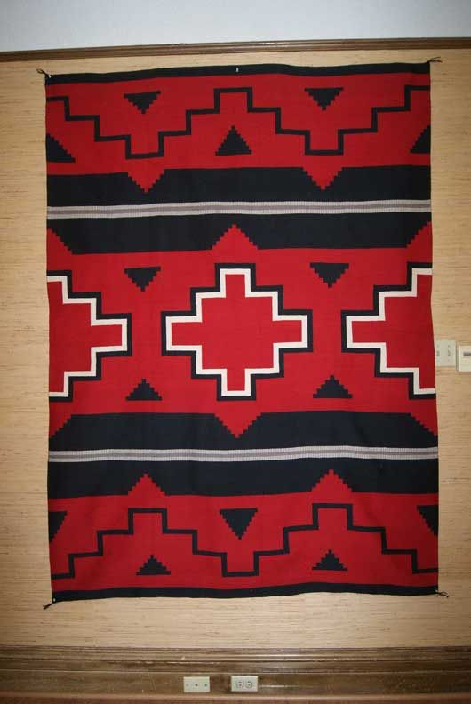Ganado Hubbell Revival Navajo Weaving in bold red, black and white