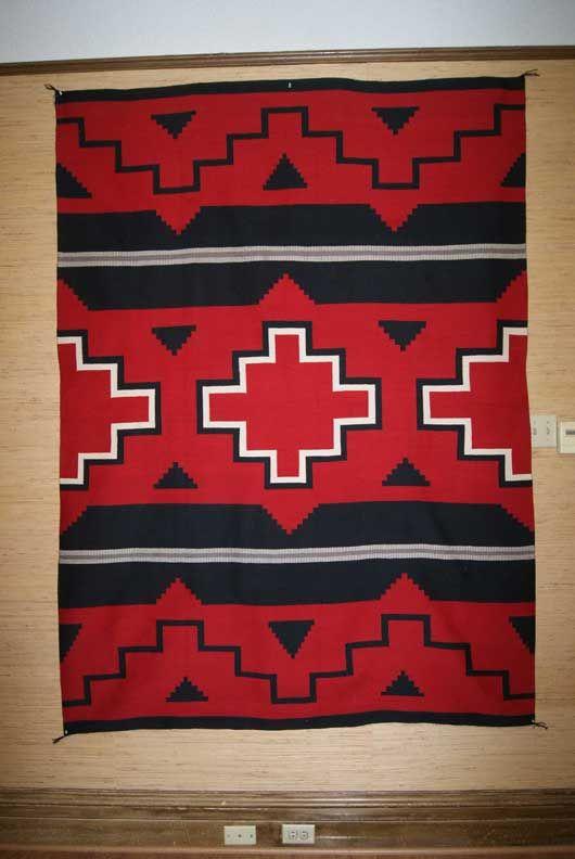Ganado Hubbell Revival Navajo Weaving in bold red, black and white