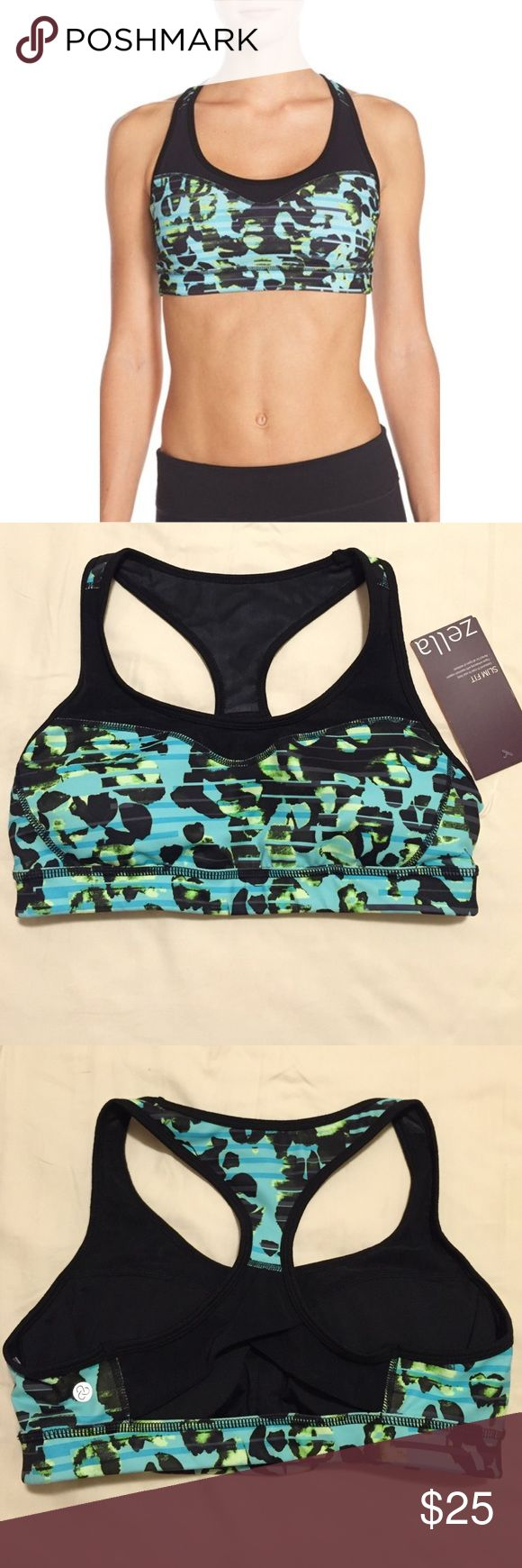 Zella Curve Sports Bra •Supportive, printed sports bra combining breathable mesh and comfortable stretch knit. The racerback is equipped to go the extra mile with a stylish ventilating cutout.   •NWT- Tag does not include price •Pattern- Green Tactical Jungle Stripe Print •Lined with removable pads •Polyester/Spandex •Machine Wash Zella Intimates & Sleepwear Bras