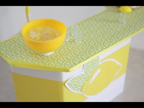 How to make a doll lemonade stand - myfroggystuff - youtube video.  (Also a great design for a sports or beach concession stand or   tiki bar!  kj)