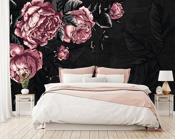 Dark Floral Wallpaper Pink Peony Flower Wall Mural Dark Leaf Etsy Gothic Home Decor Floral Wallpaper Bedroom Decor