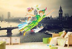 Peter Pan Wall mural Neverland Wallpaper Wall décor Wall by KIINOO
