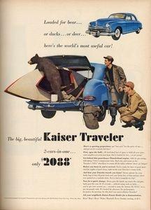 A mischievous bear cub explores a Kaiser Traveler in this 1949 advertisement.