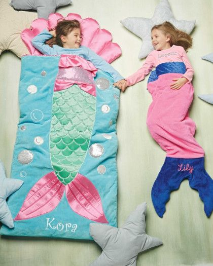 Girls Personalized Mermaid Sleeping Bag - kids favorite gifts - exclusively ours - Your mermaid will enjoy a deep sleep tucked inside this. Satin and sequin appliqués dress up the luxurious plush sleeping bag with attached shell pillow.